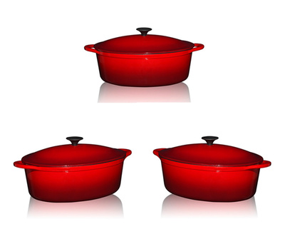 13'' Oval Enamel Cast Iron Casserole Dishes